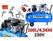 Kompresor olejowy BENSO 100 litrów model BS-KO 3,3kW 4,5KM + ZESTAW LAKIERNICZY 5el.