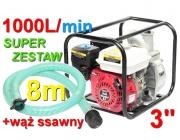 pompa spalinowa motopompa kd771 kraft&dele+wąż 8m do wody