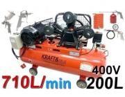 Kompresor olejowy kraft&dele 200L KD408 sprężarka + zestaw